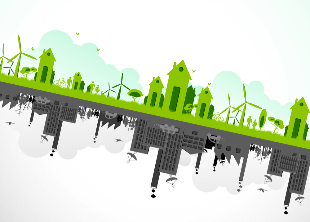 Concept of businesses becoming more green with inverse below